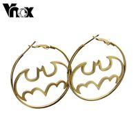 Fashion earrings for women stainless steel  hoop earrings  jewelry with batman design