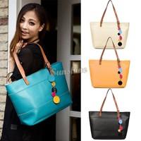 New Arrival! 2014 New Women Candy Color Fashion Leather Cute Shoulder Bag Shopping Tote Bag Handbag b4 SV002302