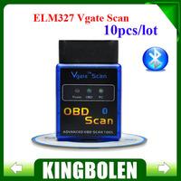(10PCS/Lot) MINI Bluetooth ELM327 Vgate Scan OBDII / OBD2 ELM 327 V2.1 Code Scanner with FREE SHIPPING