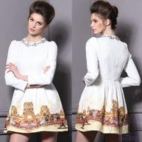 2014 New Vintage Dress Womens European Fashion Luxury Horse Paint Palace Bead Long Sleeve Dresses White S M L