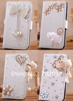 New 3D Bling Crystal Rhinestone Pearl Bow Heart Makeup Mirror PU Leather Flip Wallet Case Cover For Samsung Galaxy S5 i9600