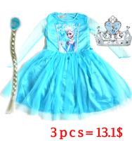 Elsa Dress Custom made Movie Cosplay Dress Summer Girl Dress Frozen  Elsa Costume for girls whith (dress  crow and hair)