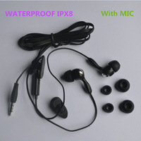 Free shipping IPX8 Waterproof Ear Earphone Headphone 3.5mm with MIC Call for Mobile Phone