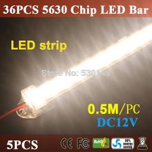 dropship 0.5m 5630 0.5m llevó bar 12v duro led rígido tira de iluminación bar 36 leds + aleación de aluminio cáscara vivienda ce rohs envío gratis(China (Mainland))