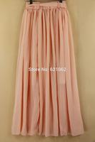 Wholesale Women's Chiffon Long Mopping Pleated Skirt Beach Skirt Europe America 9Colors White 2014 New Spring Summer