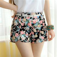 Free Shipping New Fashion Sexy Chiffon Women Shorts Flower Pattern Floral Elastic High Waist Summer Girl Cotton Shorts #6066