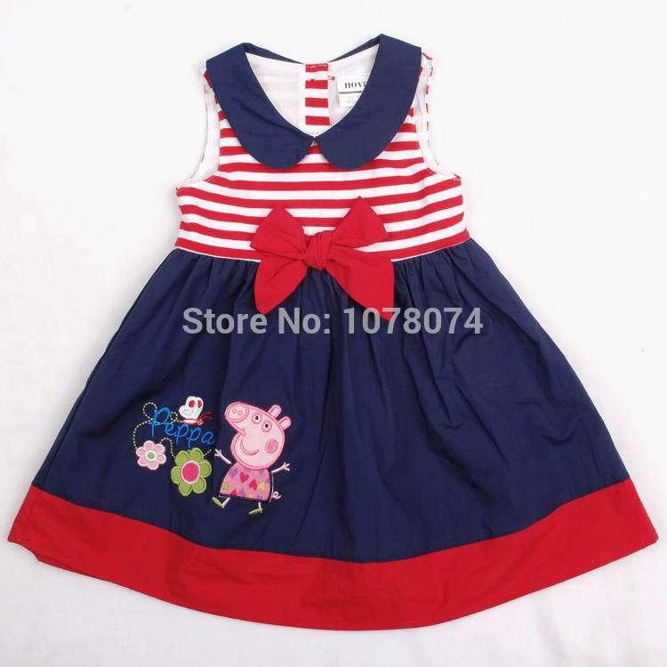 AliExpress.com Product - Nova Girls Summer Dresses New 2014 Hot Baby & Kids Sleeveless Peppa Pig Appliques Stripe Bow Children Pleated dress For Girls