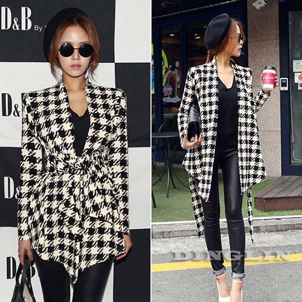 Fashion New Spring Women's Long Sleeve Houndstooth Print Open Stitch Belt Peplum Slim Jacket Cardigan Coat Top Free Shipping 271(China (Mainland))
