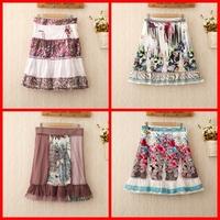 418 428 2014 New Womens vogue fashion patchwork skirts women skirt ball gown print flower ruffle cotton  knee skirts