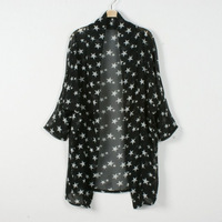 New Women's Loose Gown Black White Star Cardigan Fashion  Transparent Chiffon Long Wind Jacket  Summer Sun-proof Blouses