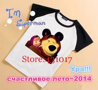 Retail 2014 new 100 cotton summer cartoon children t shirts short sleeves Russian Masha and Bear boys girl kids t shirt 2-12Age
