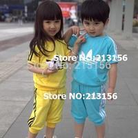 New 2014 children's clothes,100% cotton kids clothing set,Children's summer suit,T-shirt+pant,Hot sales 1set Retail ,Yellow,blue