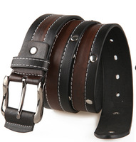 New 2014 Fashion Mens Punk Stylish PU Leather &Cowskin Rivet Metal Buckle Belt Male Classic Casual Strap Brand Jeans Belt