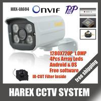 1280*720P 1.0MP 4pcs array leds IP Camera ONVIF 2.0 Waterproof Outdoor IR CUT Night Vision P2P Plug and Play, free shipping