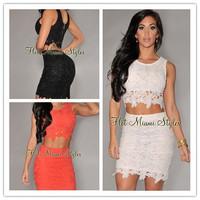 roupas femininas White Graceful Sexy Two-piece Lace mini dress new 2014 glamour summer dress vestidos de festa vestido longo