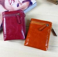 New Brand Vintage Oil Wax Cowhide 100% Genuine Leather Wallet Women key wallets Men Short Slim 2 fold Zipper cion change purses
