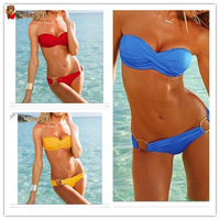 Best feedback high quality fashion sexy with cup swimwear swimsuit Shoulder strap Bikini 2014 Newest model freeshipping