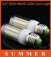 5pcs/lot  NEW LED lamps High Quality E27 9W SMD 5050 48LEDs Light Ultra Brightness Chip 5050SMD 220V Corn LED Bulbs