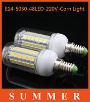 5pcs/lot  Hot LED Lights lamps High Quality E14 9W SMD 5050 48LEDs Light Ultra Brightness Chip 5050SMD 220V Corn LED Bulbs