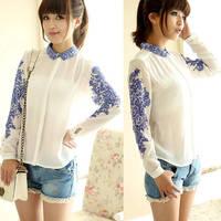 Chiffon Blue and White Porcelain Floral Long Sleeve BUTTON Regular Length O-neck Print Fashion Shirt Blouse nz06