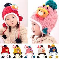 Ma struggle Bear pattern knitted hat children plus velvet ear