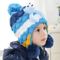Papa Bear Children's spell color plus velvet ear ear hat knitted hat children a generation of fat