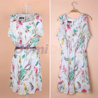 2014 New Euro style women floral Dress spring fashion sleeveless chiffon casual women printed dresses with belt
