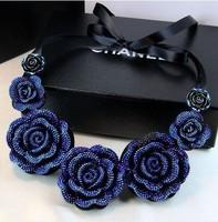 free shipping Fashion choker Necklace Hot Wholesale Vintage Crystal Black Rose Camellia short Lace Necklaces &Pendants  XL-322