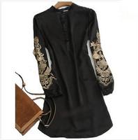Women Long Sleeve Dress Large Size Imported Clothing Embroidery Vestidos de festa Plus Size XXXL Black White Color Silk Clothes