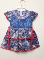 2014 New!!Top Quality Kid's Dresses Fashion Print Cute Girls Dress Summer Baby Girl Dress Kid's Short Sleeves Infant Dress