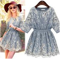 New 2014 spring girl winter dress brand lassie lace crochet chiffon casual dress irregular Cowboy dress women,plus size