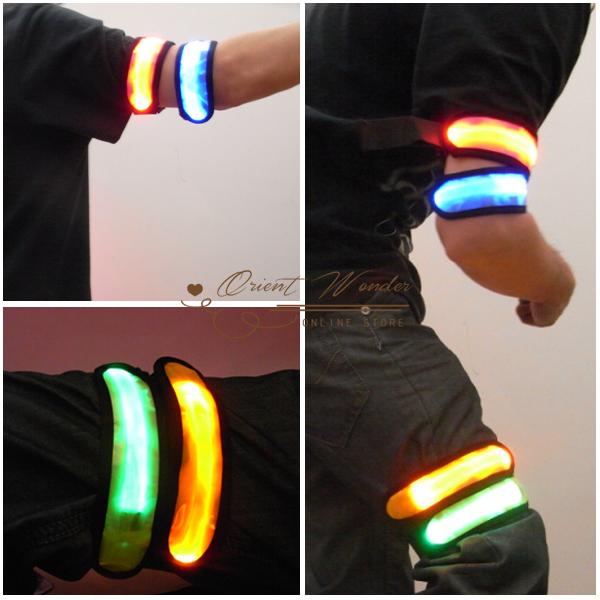 3pcs/lot Led luminous arm belt Wrist Straps LED Light safety arm band outdoor camping sport wristband(China (Mainland))