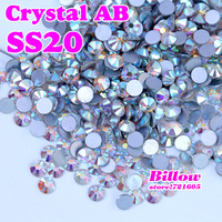 Free Shipping! Crystal AB SS20 (4.6-4.8mm) 1440pcs/Lot  Flat Back Nail Art Glue On Rhinestones / Non Hot fix CrystalsFor Fashion