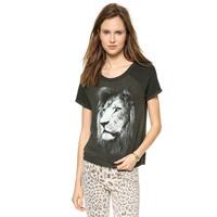2014 New Women Summer Short Sleeve T-shirt Lion Pattern Printing Soft Black T shirt