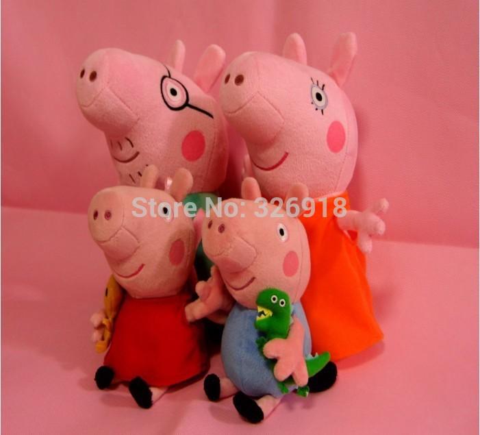 2015 Brand New 4 pieces baby kids peppa pig plush toys george pig dolls anime peppa pig toys peppa pig family set 4 pcs cf4671(China (Mainland))
