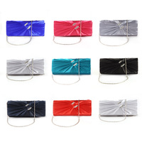 Satin Diamante Pleated Evening Clutch Bag Bridal Prom Purse Silver 7Colors Wholesale