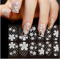 12pcs 1sheets Different Design French Style White Lace Flower Nail Art Sticker Decal Manicure Tip Nail Art Decoration Tools