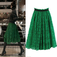 New 2014 Women Elegant Embroidery Skirt Pleated full Long Lace Flowers Hollow Out  A line skirts Hight Waist Skirts
