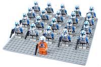 21pcs/lot blue clone trooper Minifigure compatible Building Block doll,Star wars Brick accessory WOMA Sluban Decool