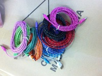 Free ship 10pcs/lot New colorful Fabric Nylon 3M 10FT Braided Cable 5 Pin V8 USB Charge Data Syncfor Samsung S3 S4 Xperia S HTC