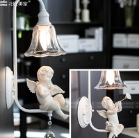 Lovely angel crystal wall lamps Angel trumpet and angel playing the violin Resin + glass + Wrought iron E14*1 LED stairs aisle