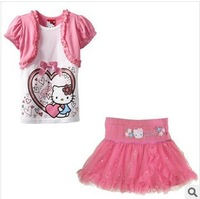 baby & kidsThe new hello Kitty summer Han edition KT cat children's short sleeve skirt suits of the girlsclothing set