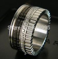 silver titanium steel 2014 new arrival black ceramic with gear crystal ring/Quatre black edition