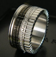silver titanium steel 2014 new arrival black ceramic with gear crystal ring/Quatre black edition