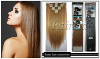 2014 Hot Fashion SALE 200g Straight Thick Clip IN REMY Human Hair Extensions Virgin Clip ON #28 Honey Blonde 40CM~65CM  2set/lot