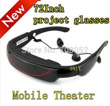 nuevo 84 pulgadas de pantalla 16:9 reproductor de vídeo gafas, proyecto glassese, pantalla virtual 720p hd mp4, pf 3, wma, mav, mono, flac(China (Mainland))