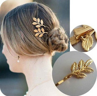Wholesale 12pcs Athena Olive Leaf Bobby-pin Gold Bridal Hair Clips Simple Wedding Hair Ornaments