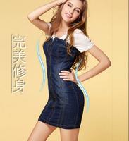 New  Women Summer Dress 2014  Vintage Washed denim package hip Slim big size jeans Dresses women  vestidos