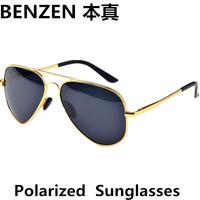 2014 Classic  Men Polarized aviator sun glasses alloy driver driving  glasses Aviator  UV 400  shade  with case black 2006A