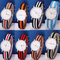 New Casual Brand Nylon Watch Fashion Women Men Sport Watches Colorful Flag Quartz Unisex Wristwatches QZ4043
